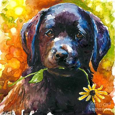 Yellow Labrador Retriever Painting - Just Picked by Molly Poole