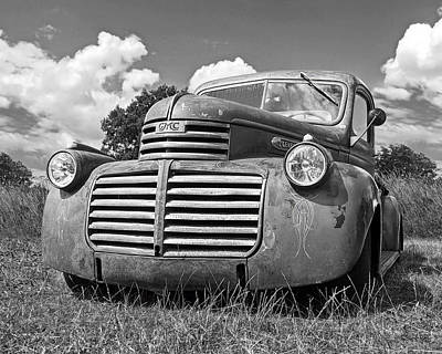 Photograph - Just Resting - Vintage Gmc Truck Black And White by Gill Billington