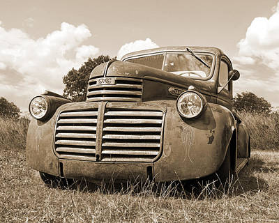 Photograph - Just Resting - Vintage Gmc Truck In Sepia by Gill Billington