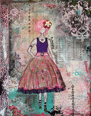 Just Smile Unique Abstract Mixed Media Artwork Art Print by Janelle Nichol