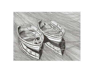 Classic Marine Art Drawing - Two Dinghy Friends Just The Two Of Us by Jack Pumphrey