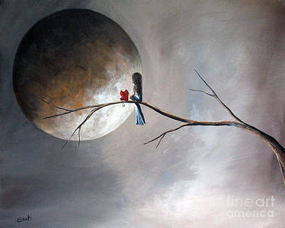 Big Moon Painting - Just You And Me By Shawna Erback by Shawna Erback