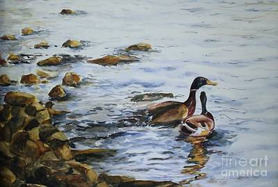 Ducks In Watercolor Painting - Just You And Me Now by Kyong Burke