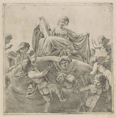 Law Books Drawing - Justice Surrounded By Putti And Cherubs, Anonymous by Anonymous
