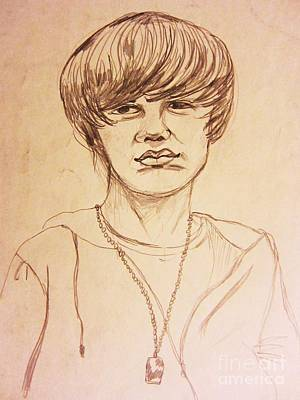 Justin Bieber Drawing Drawing - Justin Bieber 1 by Esther Rowden