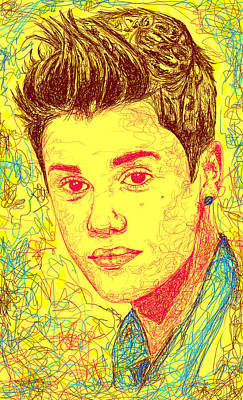 Justin Bieber In Line Drawing - Justin Bieber In Line by Kenal Louis