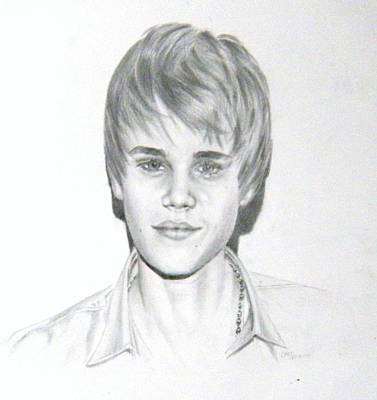 Art Print featuring the drawing Justin Bieber by Lori Ippolito