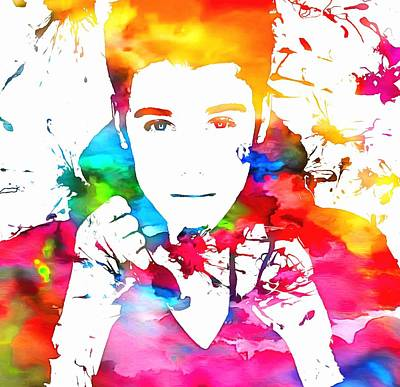 Girls Mixed Media - Justin Bieber Watercolor Paint Splatter by Dan Sproul