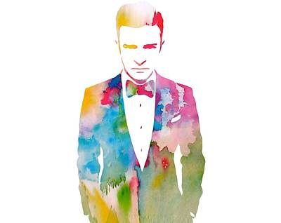Painting - Justin Timberlake Watercolor by Dan Sproul