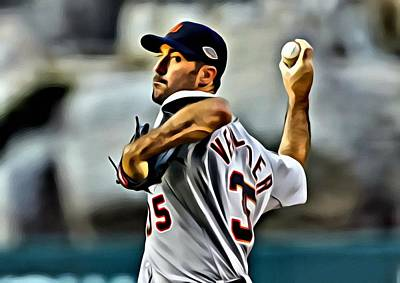 Detroit Tigers Photograph - Justin Verlander Painting by Florian Rodarte