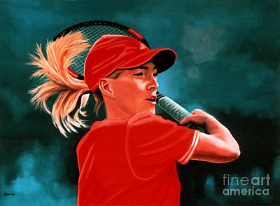 Tennis Painting - Justine Henin  by Paul Meijering