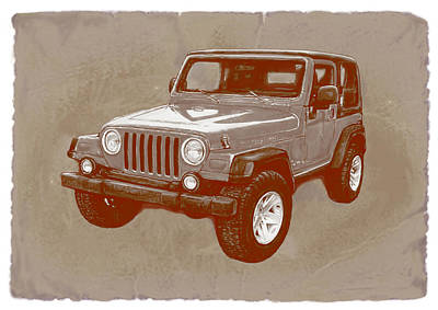 Justjeepn's 2005 Jeep Wrangler Rubicon Car Art Sketch Poster Art Print by Kim Wang
