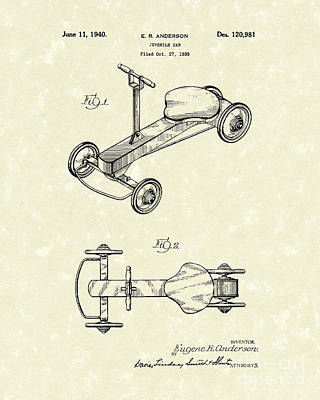 Wheel Drawing - Juvenile Car 1940 Patent Art by Prior Art Design