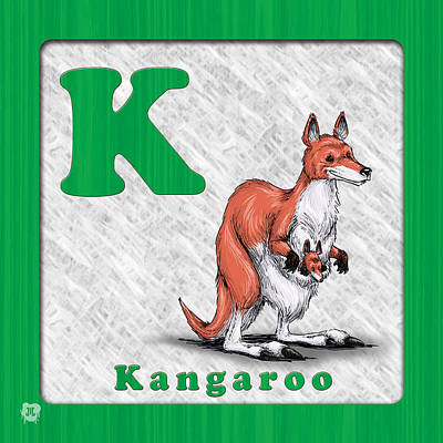 Kangaroo Drawing - K Fo Kangaroo by Jason Meents
