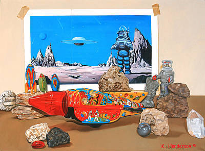 Forbidden Planet Painting - K. Henderson Celebrates National Science Fiction Day by K Henderson