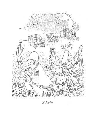 K Ration Art Print by Saul Steinberg