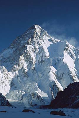 Snow. Mountain Photograph - K2 At Dawn Pakistan by Colin Monteath