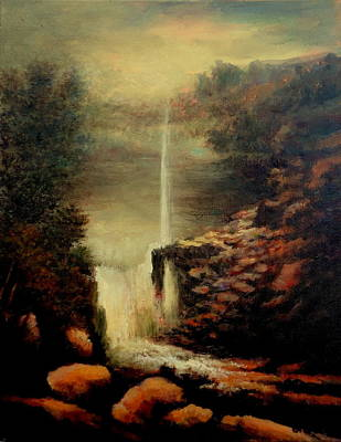 Rivers In The Fall Painting - Kaaterskill Falls August by Ellen Perantoni