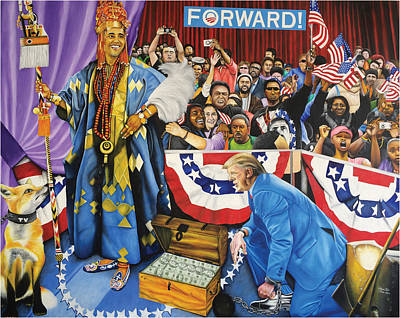 Painting - Kabiyesi Oba Obama Unquestionable King Obama by O Yemi Tubi