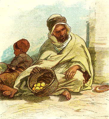 Lemon Drawing - Kabyle Selling Lemons Algiers 1885 by English School