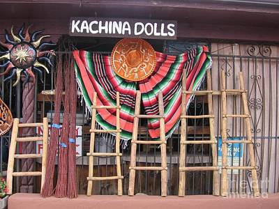Art Print featuring the photograph Kachina Dolls Local Store Front by Dora Sofia Caputo Photographic Art and Design