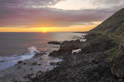Nature Photograph - Kaena Point Sea Arch Sunset - Oahu Hawaii by Brian Harig