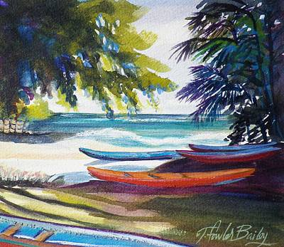 Kailua Beach Canoes Sold Art Print by Therese Fowler-Bailey