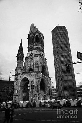 Kudamm Photograph - Kaiser Wilhelm Gedachtniskirche Memorial Church New Bell Tower And Christmas Market Berlin Germany by Joe Fox