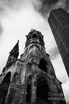 Kudamm Photograph - Kaiser Wilhelm Gedachtniskirche Memorial Church Next To The New Church Berlin Germany by Joe Fox