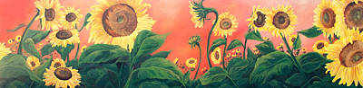 Art Print featuring the painting Kait's Sunflowers by Jessica Tookey