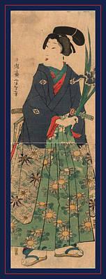 Iris Drawing - Kakitsubata O Matsu Wakashu Young Dandy Carrying Irises by Tsukioka Yoshitoshi, Also Named Taiso Yoshitoshi (1839 ? 1892), Japanese