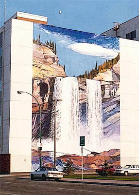 Art Print featuring the painting Kakwa Falls Mural  by Tim  Heimdal
