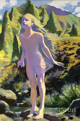 Kauai Girl Painting - Kalalau Fairy Taking Off by Isa Maria