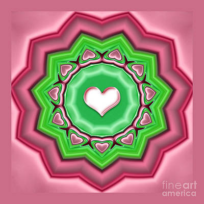Digital Art - Kaleidoscope - Garland Of Hearts by Gabriele Pomykaj