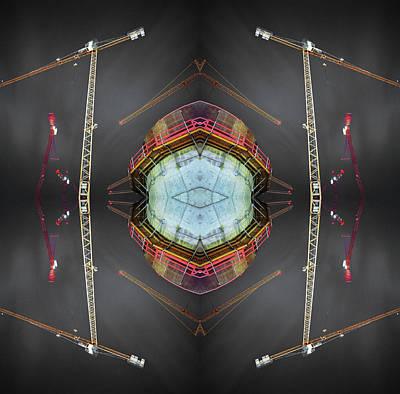 Symmetry Photograph - Kaleidoscope Construction Cranes by Silvia Otte