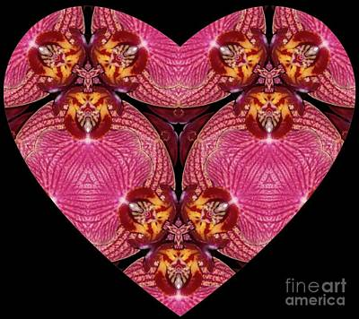Mixed Media - Kaleidoscope Orchid Heart by Renee Trenholm
