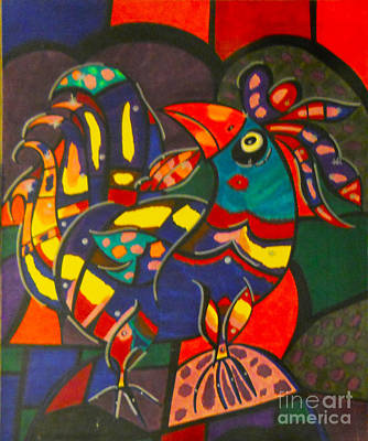 Kaleidoscope Rooster Print by Sue McNally