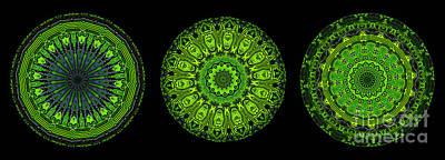 Kaleidoscope Triptych Of Glowing Circuit Boards Art Print by Amy Cicconi