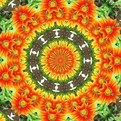 Photograph - Kaleidoscopic Orange Garden Gazanias by Tracey Harrington-Simpson