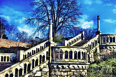 Fortress Mixed Media - Kalemegdan Fortress Stairs by Milan Karadzic