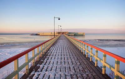 Kallbadhuset Pier At Dusk Art Print by Secablue