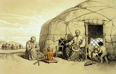 Playing Drawing - Kalmuks With A Prayer Wheel, Siberia by Francois Fortune Antoine Ferogio