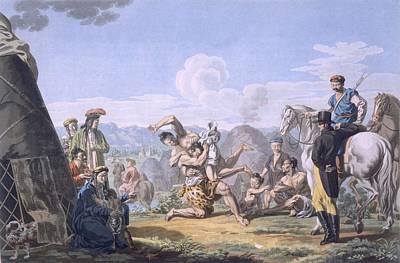 Wrestling Drawing - Kalmuks Wrestling, 1812-13 by E. Karnejeff