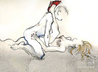 Mixed Media - Kama Sutra - The Spitroast by Carolyn Weltman