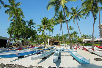 Canoe Photograph - Kamakahonu Beach, Kailua-kona, Big by Douglas Peebles