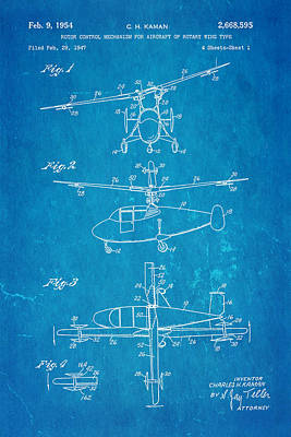 Helicopter Photograph - Kaman Rotor Control Patent Art 1954 Blueprint by Ian Monk