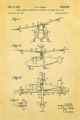 Helicopter Photograph - Kaman Rotor Control Patent Art 1954 by Ian Monk