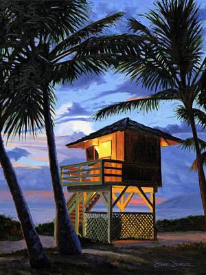 Painting - Kamaole Beach - Nocturne by Steve Simon