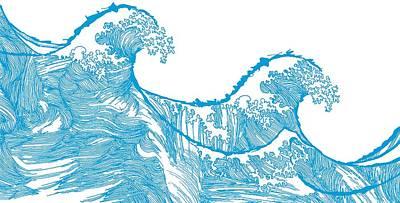 Crest Digital Art - Kanagawa Wave by Sarah Hough