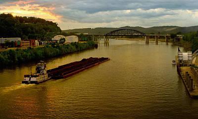 Coal Barge Photograph - Kanawha River Sunset by Thomas Dean